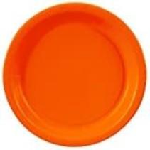 """***Sunkissed Orange 7"""" Round Paper Dessert Plate 24ct"""