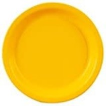"School Bus Yellow 7"" Round Paper Dessert Plates 24ct"
