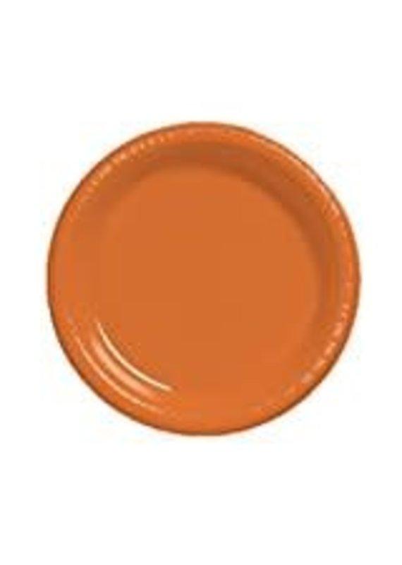 """****Sunkissed Orange 7"""" Plastic Dessert Plates 20ct"""