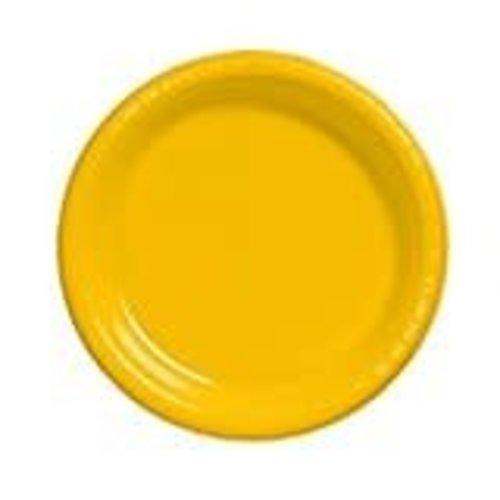 "School Bus Yellow 10"" Plastic Banquet Plates 20ct"
