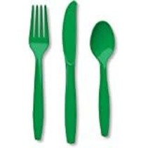 ***Emerald Green Assorted Cutlery 24ct