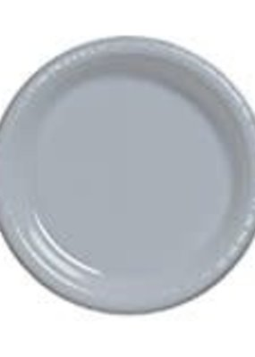 """***Shimmering Silver 10"""" Plastic Banquet Plates 20ct"""
