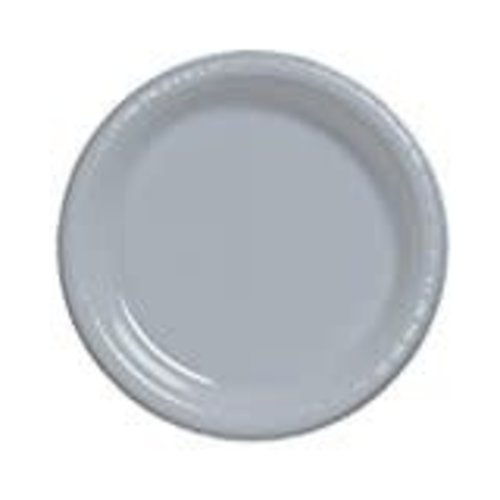"*Shimmering Silver 10"" Plastic Banquet Plates 20ct"