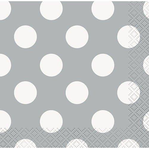 Silver Polka Dot Beverage Napkin