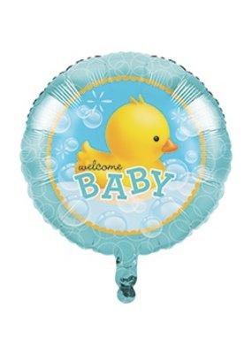 "***Bubble Bath Welcome Baby 18"" Mylar Balloon"