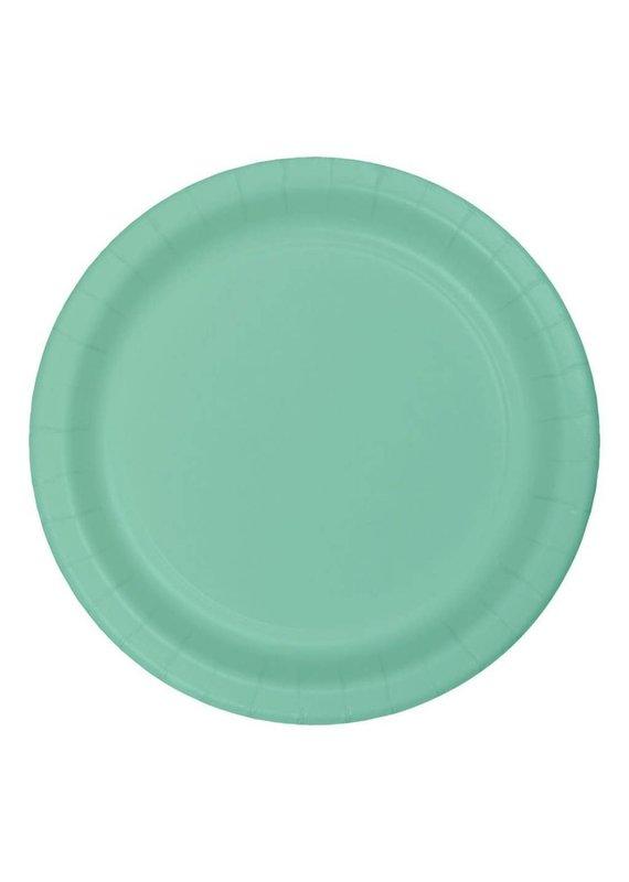 """****Fresh Mint 7"""" Round Paper Dessert Plates 24ct"""