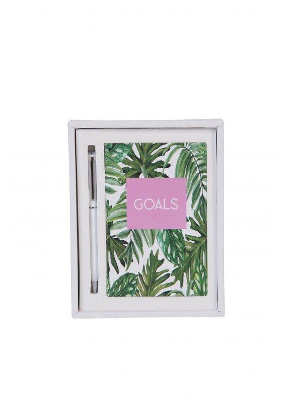 EverEllis ***Goals Palm Leaf Notebook Set