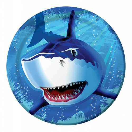 "*Shark Splash 9"" Dinner Plate 8ct"