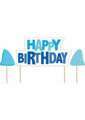 ***Shark Splash Birthday Cake Pick Set