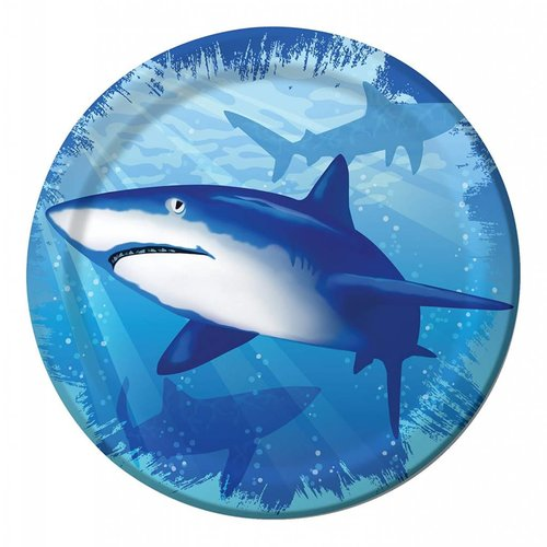 "*Shark Splash 7"" Plate 8ct"