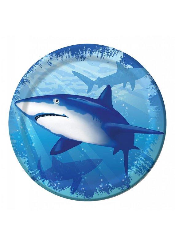 "****Shark Splash 7"" Plate 8ct"