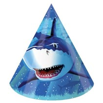 *Shark Splash Party Cone Hats 8ct