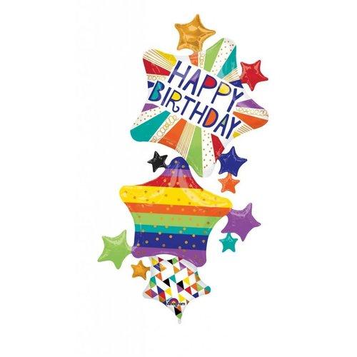 Happy Birthday Stars Stacked Jumbo Mylar Balloon