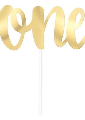 ***Gold One Script Cake Topper Pick