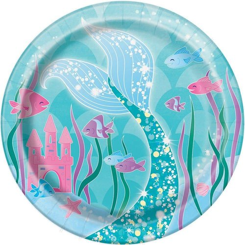 """*Mermaid Swimming 7"""" Dessert Plate 8ct"""