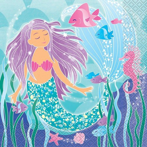 *Mermaid Swimming Lunch Napkins 16ct