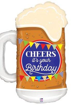"""***Cheers Birthday Beer Mug 34"""" Mylar Balloon"""