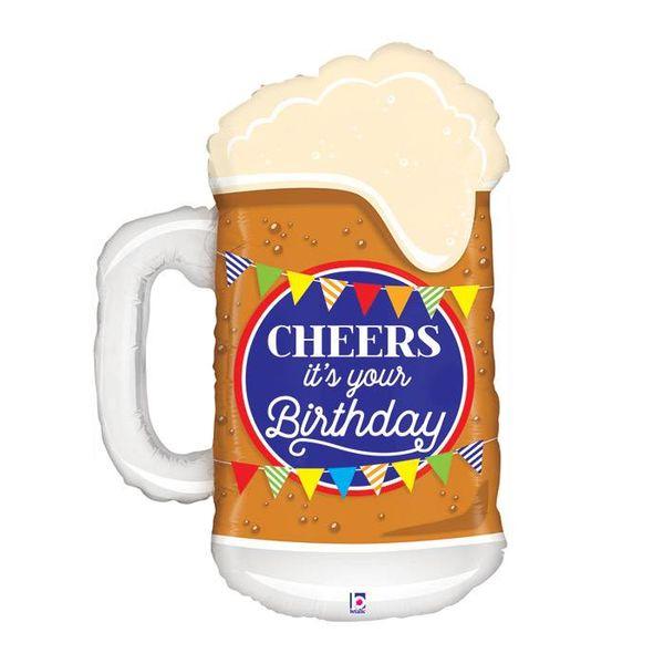 """*Cheers Birthday Beer Mug 34"""" Mylar Balloon"""