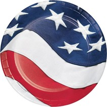 "***Freedoms Flag 7"" Dessert Plates 8ct"