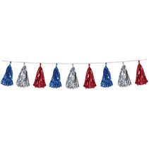 Metallic Tassel Garland Red, Silver, Blue