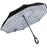Houndstooth Inverted Umbrella, Black/Gray