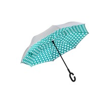 ***Polka Dot Inverted Umbrella, Mint/Gray