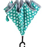 ***Polka Dot Inverted Umbrella, Mint/Gray