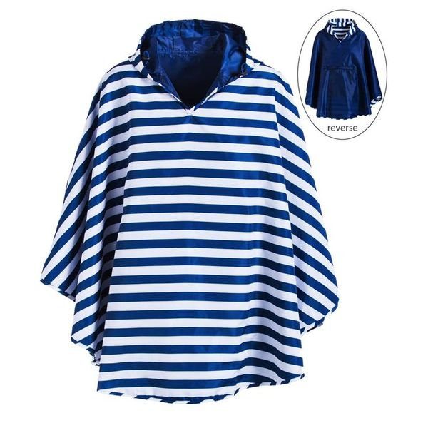 Reversible Rain Poncho, 2 Asst, Navy, Black