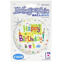 "*Happy Birthday Party 18"" Holographic Mylar Balloon"
