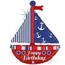"*Nautical Birthday Sailboat 37"" Holographic  Jumbo balloon"
