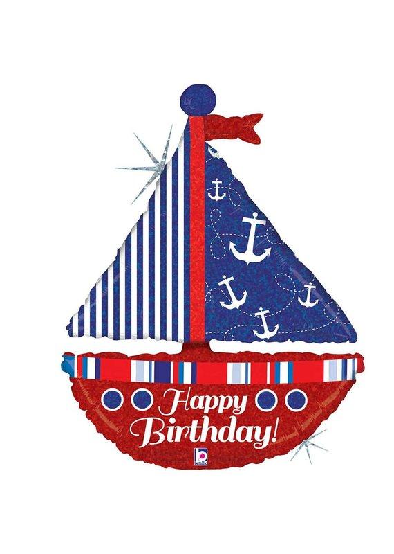 "*Nautical Birthday Sailboat 37"" Holographic  Jumbo balloon"