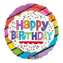 "***Birthday Bright Stripes 17"" Mylar Balloon"