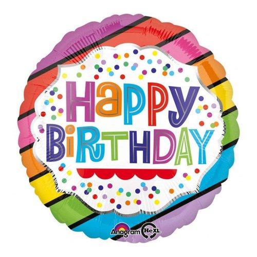 "*Birthday Bright Stripes 17"" Mylar Balloon"