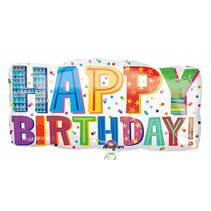 "*Happy Birthday Type 33"" Horizontal Super Shape Mylar Balloon"