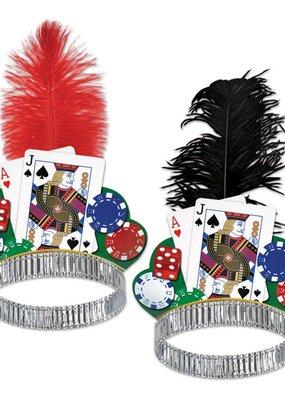 ***Casino Night Tiara (Red or Black Feather)