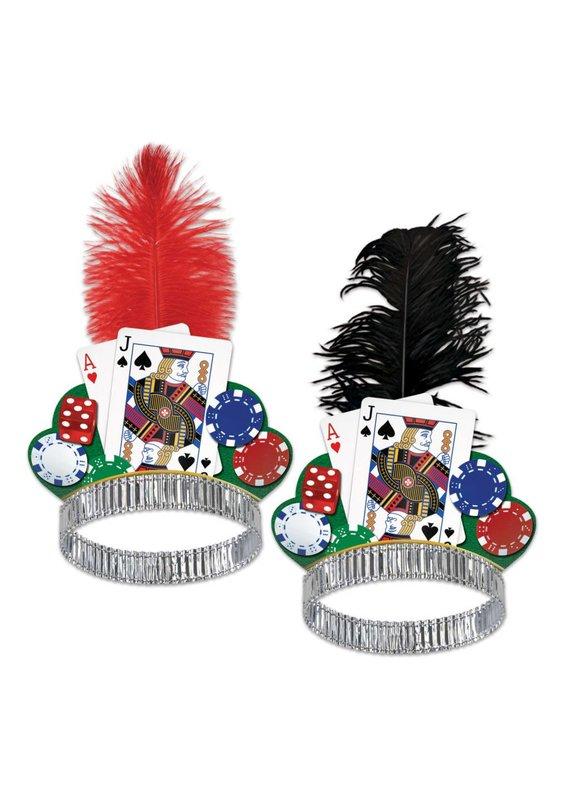 ****Casino Night Tiara (Red or Black Feather)