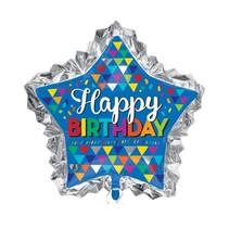"***Happy Birthday Sketchy Patterns 34"" Star Super Shape Balloon"
