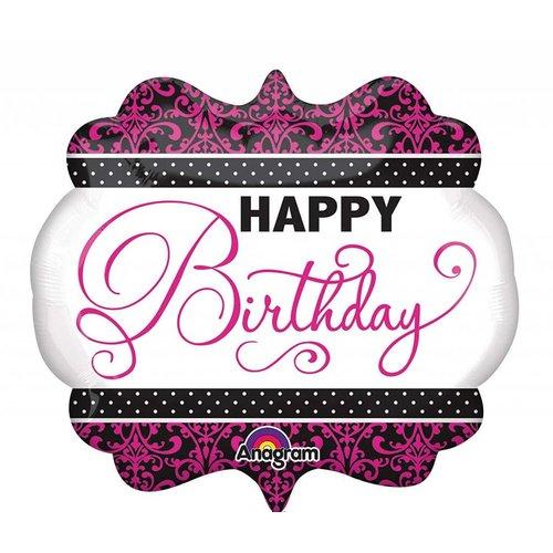 *Pink Black White Birthday 25x22 Super Shape Mylar Balloon