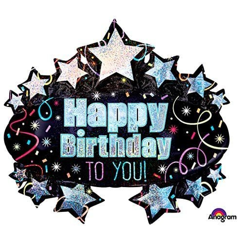 *Brilliant Birthday Marquee 31x28 Super Shape Mylar Balloon