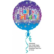 "***Birthday Bright Star 18"" Holographic Mylar Balloon"