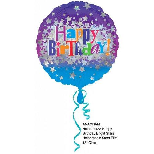 "*Happy Birthday Bright Star 18"" Holographic Mylar Balloon"
