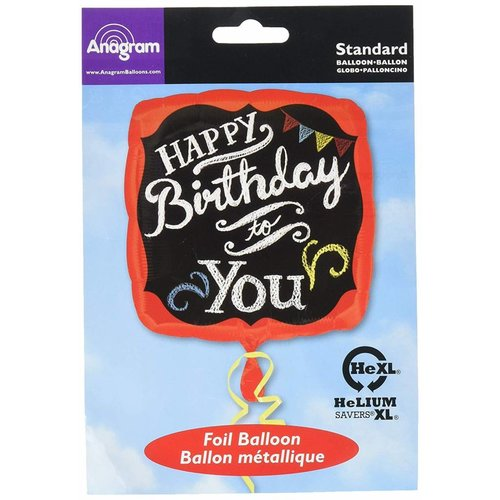 "*Chalkboard Birthday 17"" Square Mylar Balloon"