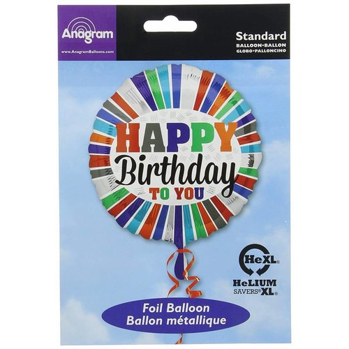 "*Happy Birthday to You Stripes 17"" Mylar Balloon"