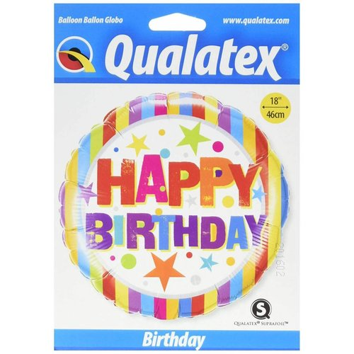 "*Birthday Stripes and Stars 18"" Mylar Balloon"