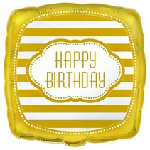 "***Golden Birthday Square 18"" Mylar Balloon"