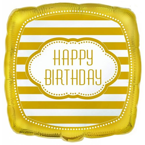 "*Golden Birthday Square 18"" Mylar Balloon"