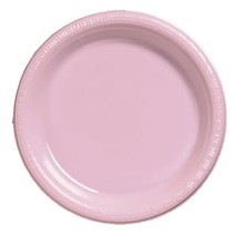 "***Classic Pink 9"" Plastic Dinner Plates 20ct"