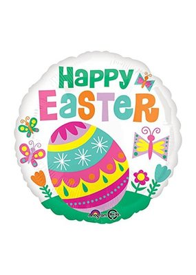 """***Happy Easter Egg on Grass with Butterflies 18"""" Mylar Balloon"""