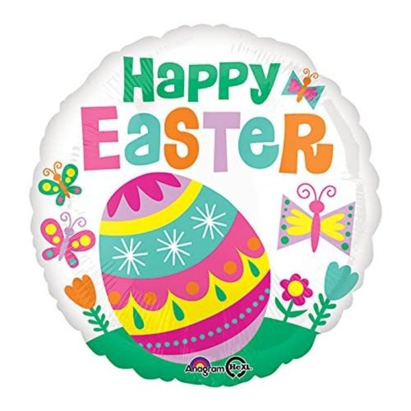 """*Happy Easter Egg on Grass with Butterflies 18"""" Mylar Balloon"""