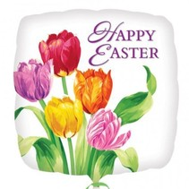 "*Happy Easter Tulip Square 18"" Mylar Balloon"